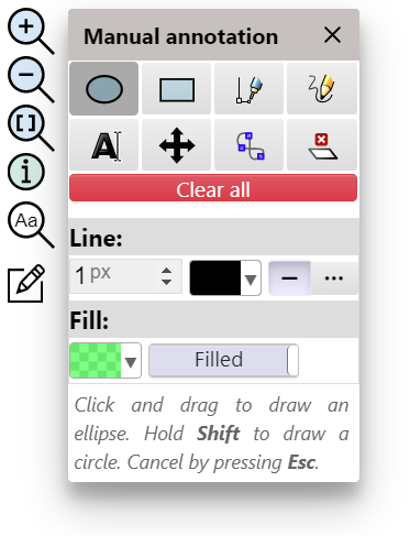 Manual annotation tool panel